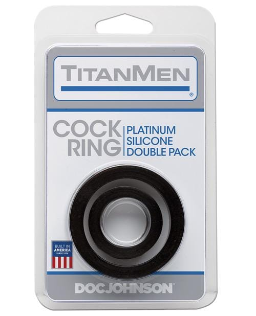 Titanmen Platinum Silicone Cock Ring - Black Pack Of 2 - THE FETISH ACADEMY