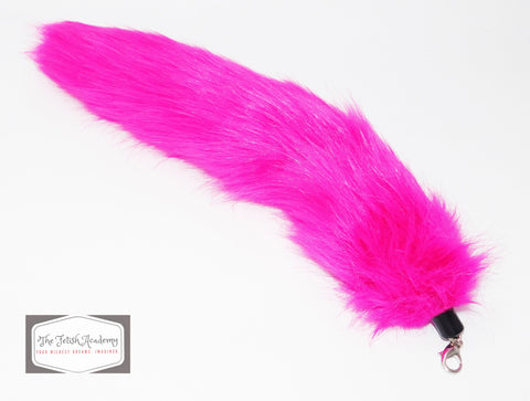 FAUX Fox Fur Clip on Tail - Fuchsia - THE FETISH ACADEMY