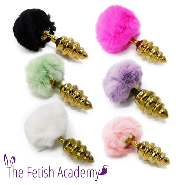 Faux Bunny Tail Butt Plug with Gold Stainless Steel Spiral - THE FETISH ACADEMY
