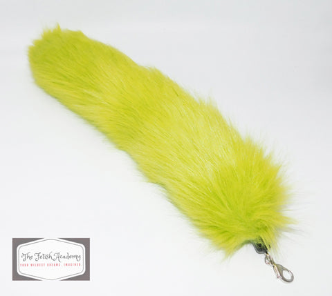 FAUX Fox Fur Clip on Tail - Green - THE FETISH ACADEMY