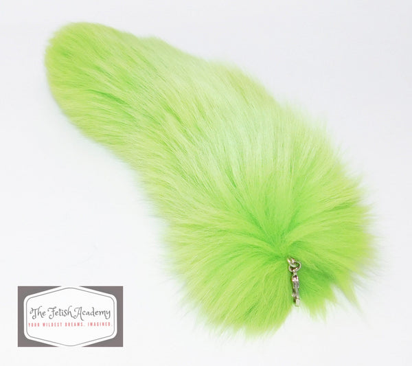 REAL Fox Fur Clip on Tail - Green - THE FETISH ACADEMY