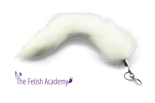 "15"" FAUX Fox Fur Clip on Tail with Key Chain - White"