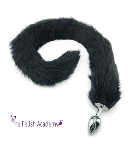 "32"" Extra Long Faux Cat Tail Butt Plug - Black"
