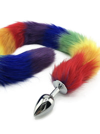"32"" Extra Long Faux Cat Tail Butt Plug - Rainbow Pride - THE FETISH ACADEMY"