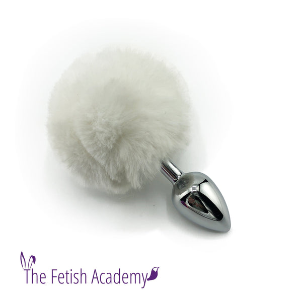 Faux White Bunny Tail with Stainless Steel Plug - THE FETISH ACADEMY