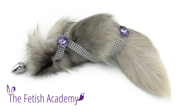 Jeweled Indigo Fox Tail Bling Plug - Fetish Academy Exclusive - THE FETISH ACADEMY