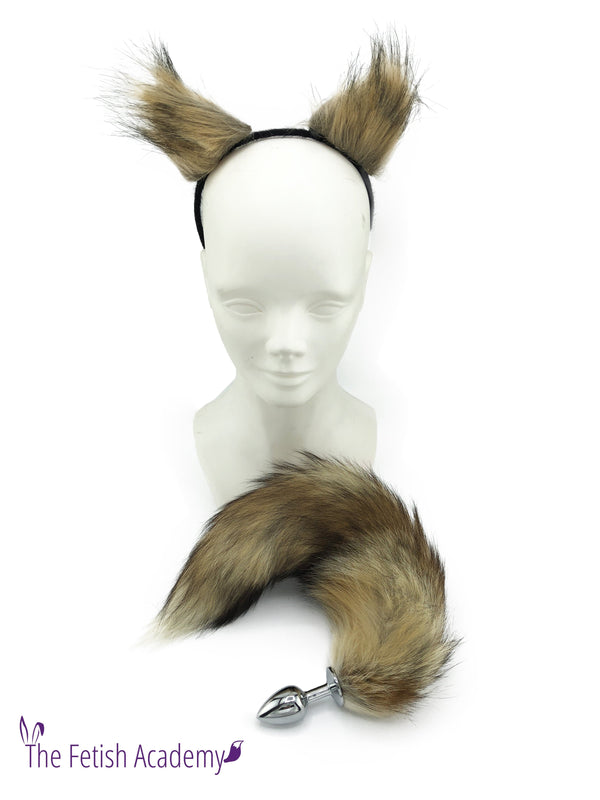 Genuine Red Fox Tail Butt Plug and Pointy Ears Set - THE FETISH ACADEMY