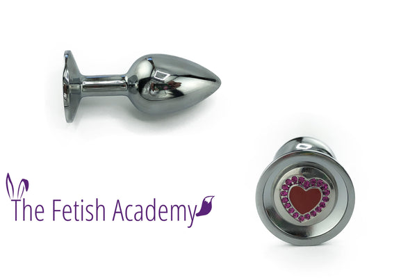 Heart Bedazzled Stainless Steel Bling Plug - Fetish Academy Exclusive - THE FETISH ACADEMY