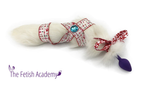 Jeweled White Fox Tail Bling Plug - Fetish Academy Exclusive