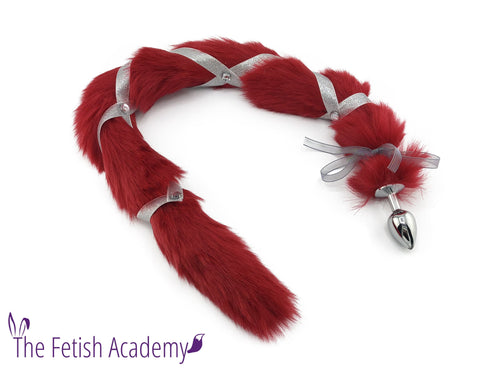 Jeweled Extra Long Red Faux Cat Tail Bling Plug - Fetish Academy Exclusive