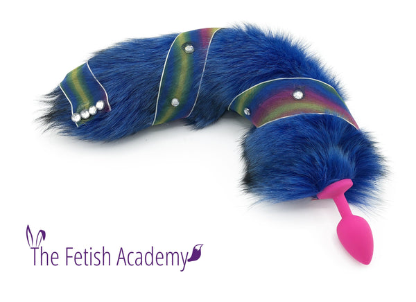 Jeweled Blue Dyed White Fox Tail Bling Plug - Fetish Academy Exclusive