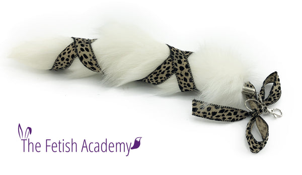 Leopard Ribbon White Fox Clip on Tail - Fetish Academy Exclusive
