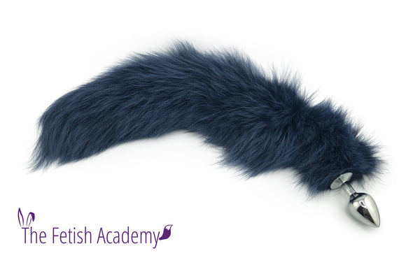 "21"" Navy Dyed White Fox Tail Butt Plug"