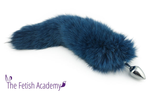 "16""-17"" Teal Dyed White Fox Tail Butt Plug"