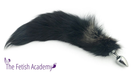 "20"" Black Mix Dyed Silver Fox Tail Butt Plug"