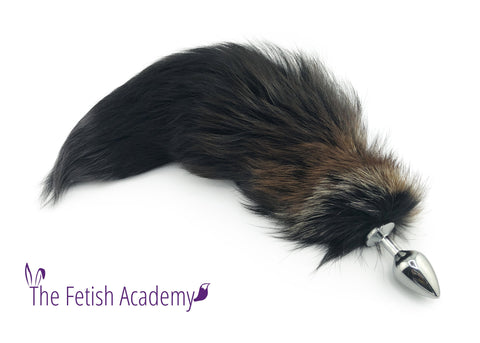 "18"" Brown Gradient Dyed Silver Fox Tail Butt Plug"