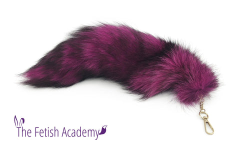 "13""-15"" Hot Pink Dyed Indigo Fox Fur Clip on Tail"