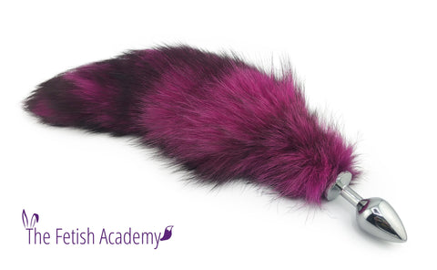 "13""-15"" Hot Pink Dyed Indigo Fox Tail Butt Plug"