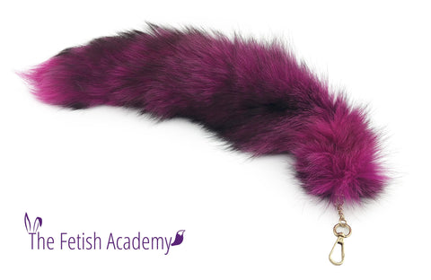 "19"" Hot Pink Dyed Indigo Fox Fur Clip on Tail"