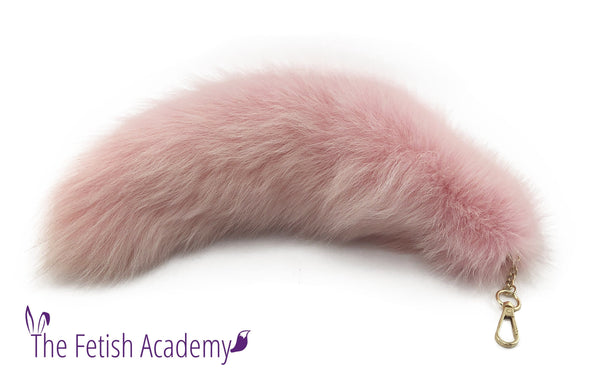 "15"" Light Pink Dyed White Fox Fur Clip on Tail"