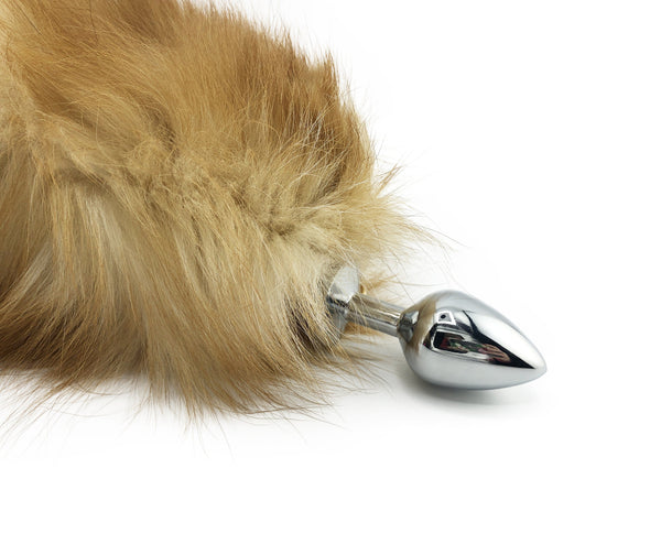 "16"" Blonde Silver Fox Tail Butt Plug - Stainless Steel"