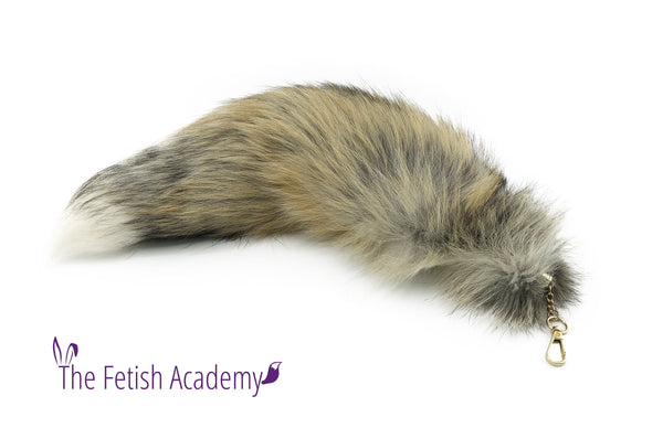 "17"" Golden Island Fox Fur Clip on Tail"