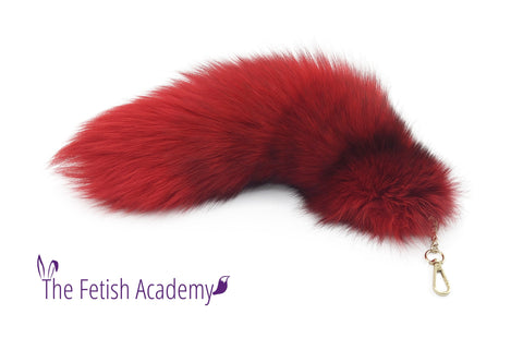 "15"" Red Dyed Platinum Fox Fur Clip on Tail"
