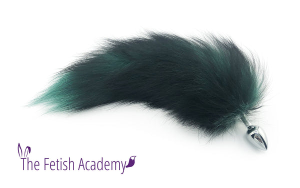 "15"" Green Dyed Silver Fox Tail Butt Plug"