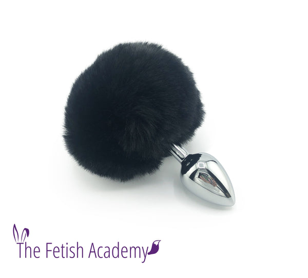 Faux Black Bunny Tail Butt Plug - THE FETISH ACADEMY