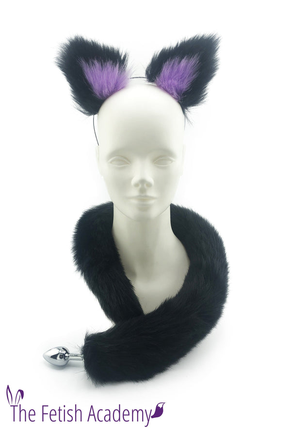 Black and Purple Faux Fox Ears and Long Tail Set - 30