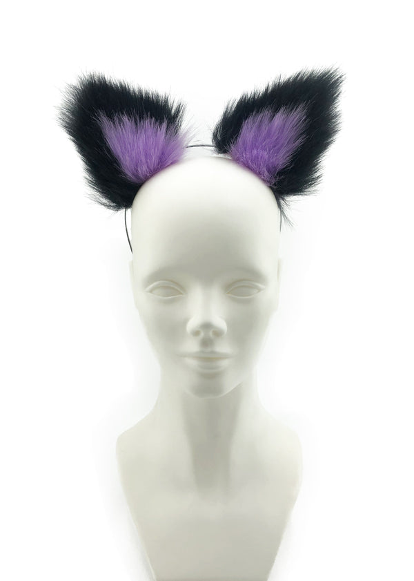 Black and Purple Wolf Ears