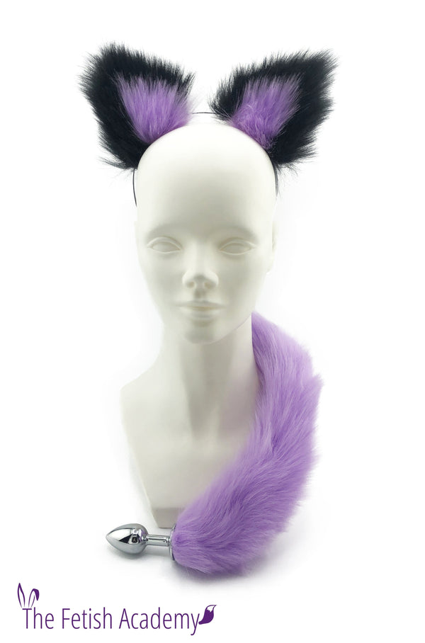 Lavender Faux Fox Tail and Ears Set - THE FETISH ACADEMY