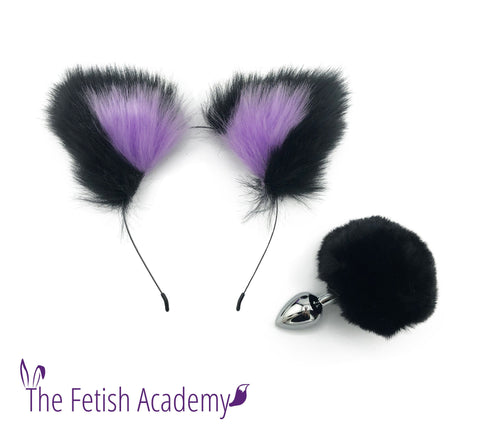 Black FAUX Bunny Tail and Ears Set