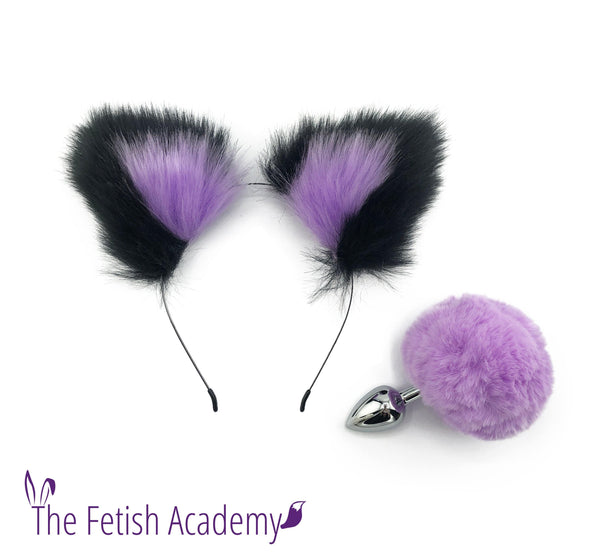 Lavender FAUX Bunny Tail and Ears Set - THE FETISH ACADEMY