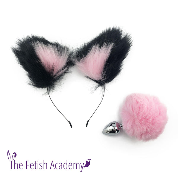 Pink FAUX Bunny Tail and Ears Set - THE FETISH ACADEMY