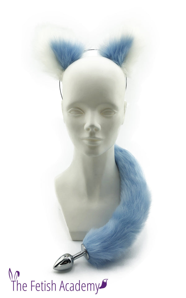 White and Blue Faux Fox Tail and Ears Set - THE FETISH ACADEMY