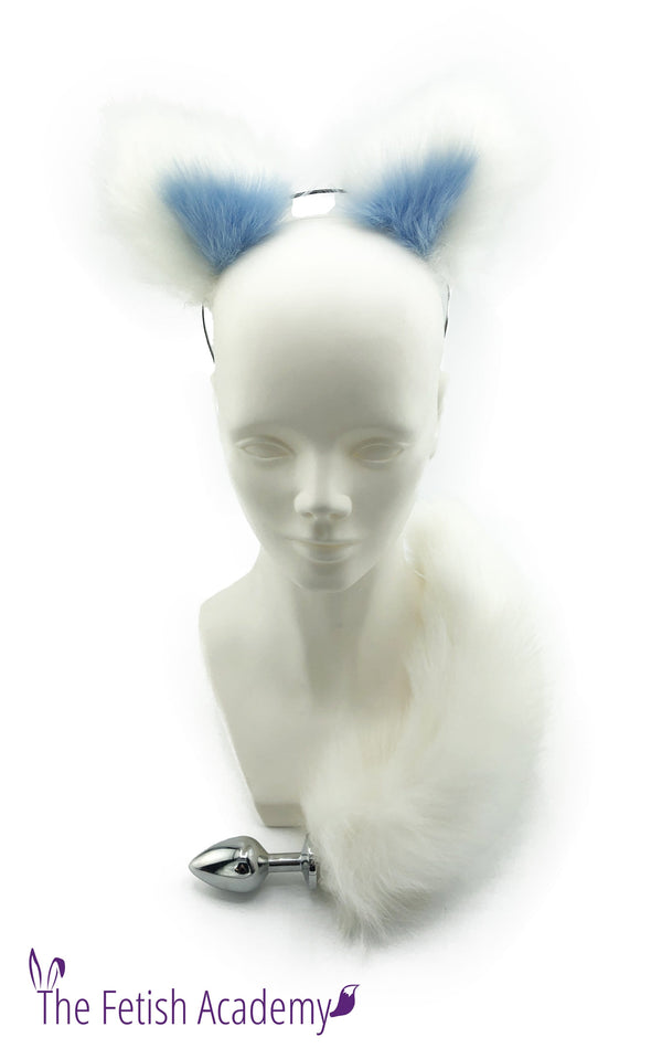 White Faux Fox Tail and Blue Ears Set