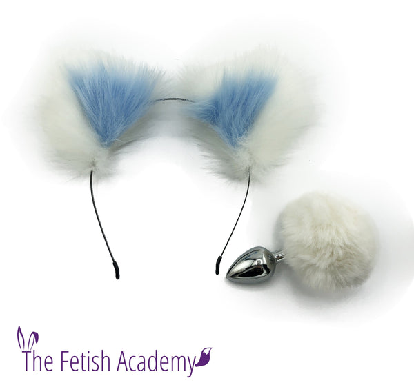 White FAUX Bunny Tail and Blue Ears Set