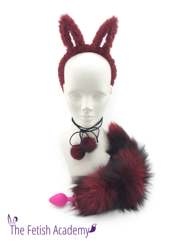 Red Silver Fox Tail and Bunny Ears Set - THE FETISH ACADEMY