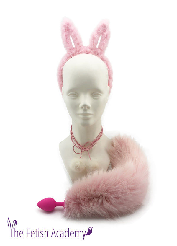 Pink Dyed White Fox Tail and Bunny Ears Set - THE FETISH ACADEMY