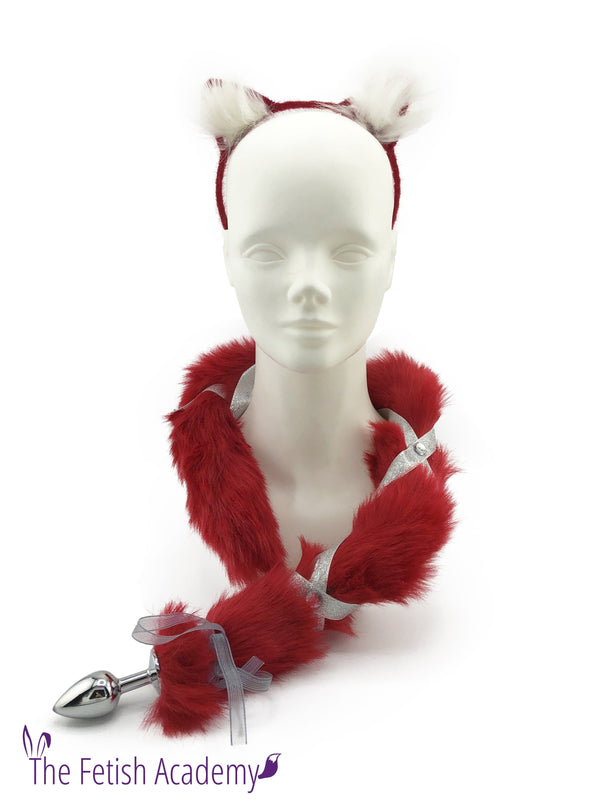 Faux Red Ribbon Fox Tail and Ears Set - THE FETISH ACADEMY