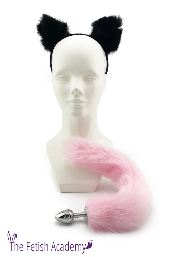 Pink Faux Fox Tail and Black Cat Ears Set - THE FETISH ACADEMY