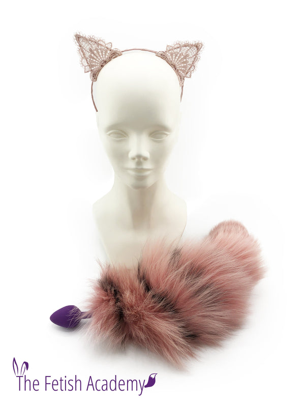 Flamingo Dyed Platinum Fox Tail Butt Plug and Pointy Ears Set - THE FETISH ACADEMY