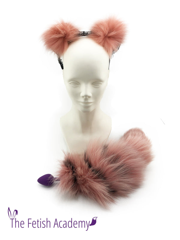 Flamingo Dyed Platinum Fox Tail Butt Plug and Ears Set - THE FETISH ACADEMY