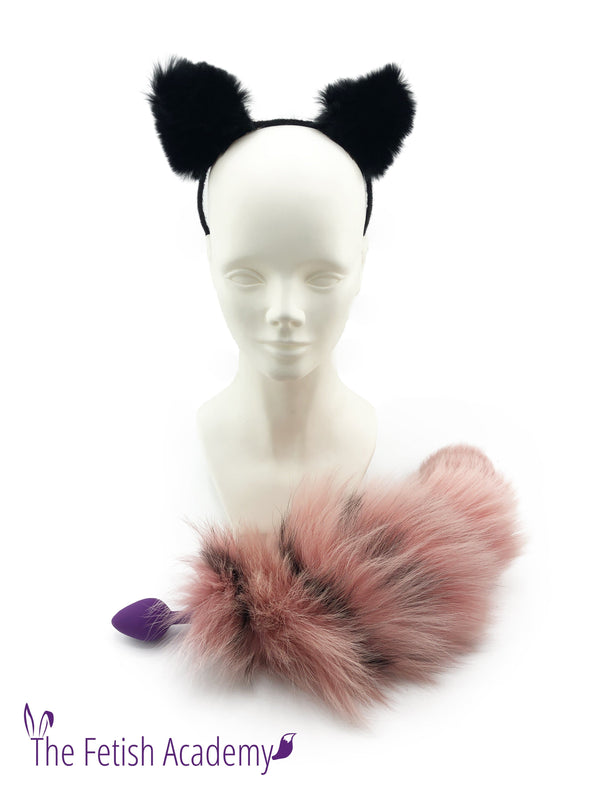 Pink Silver Fox Dyed Fox Tail Butt Plug and Black Cat Ears Set - THE FETISH ACADEMY