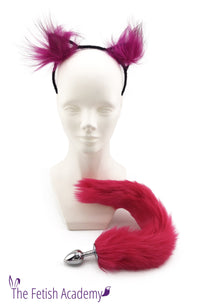 Faux Fuchsia Fox Tail and Ears Set - THE FETISH ACADEMY