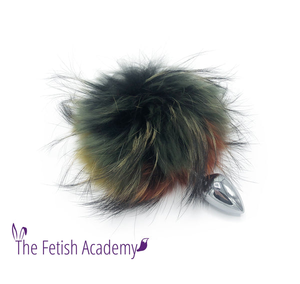 Multicolor Dyed Raccoon Fur Bunny Tail Butt Plug - THE FETISH ACADEMY