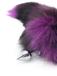 "15"" Purple Dyed Silver Fox Tail Butt Plug - THE FETISH ACADEMY"