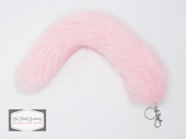 FAUX Fox Fur Clip on Tail with Key Chain - Pink - THE FETISH ACADEMY