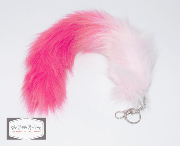 FAUX Fox Fur Clip on Tail with Key Chain - Pink Gradient - THE FETISH ACADEMY